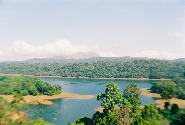 Rainforests extend as far as the eye can see. The twin peaks of Karimala Gopuram (in Parambikulam Wildlife Sanctuary) are visible in the distance.