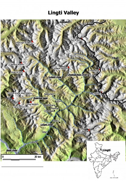Map Lingti valley