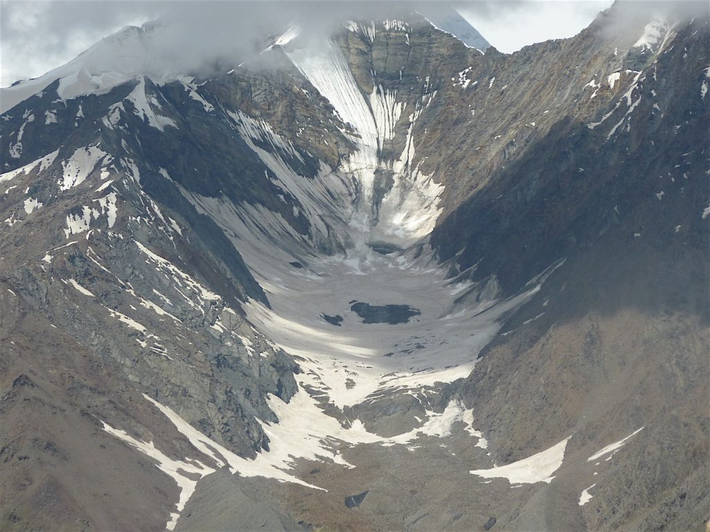 One of the small glaciers in the valley.